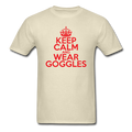 """Keep Calm and Wear Goggles"" (red) - Men's T-Shirt - T-Shirt - ScienceT-Shirts"
