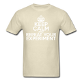 """Keep Calm and Repeat Your Experiment"" (white) - Men's T-Shirt - T-Shirt - ScienceT-Shirts"