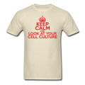 """Keep Calm and Look at Your Cell Culture"" (red) - Men's T-Shirt - T-Shirt - ScienceT-Shirts"