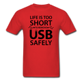 Red Life Is Too Short Men's Black Computer T-Shirt
