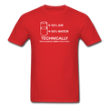 Red Technically The Glass Is Completely Full Men's Science T-Shirt