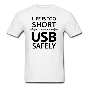 White Life Is Too Short Men's Black Computer T-Shirt