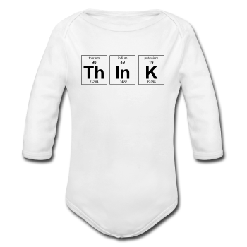 White ThInK Baby Long Sleeve Periodic Table One Piece