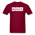 maroon BaCoN Periodic Table Men's Science T-Shirt