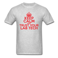 """Keep Calm and Trust Your Lab Tech"" (red) - Men's T-Shirt - T-Shirt - ScienceT-Shirts"
