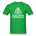 """Keep Calm and Play With Chemicals"" (white) - Men's T-Shirt - T-Shirt - ScienceT-Shirts"
