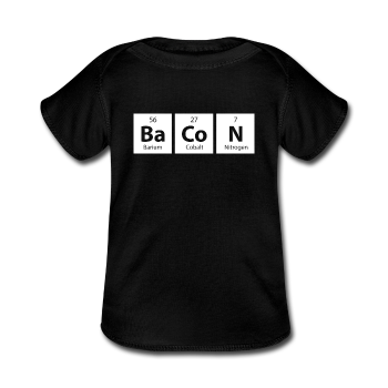 Black BaCoN Baby Lap Periodic Table Shoulder T-Shirt