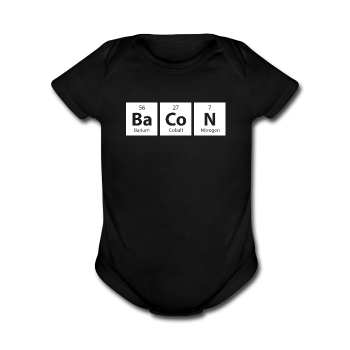 Black BaCoN Periodic Table Baby Short Sleeve One Piece