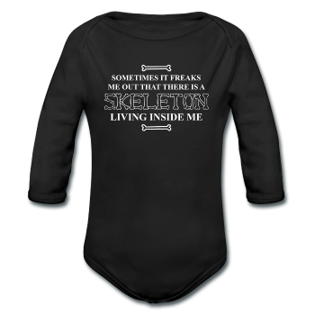 """Skeleton Inside Me"" - Baby Long Sleeve One Piece"