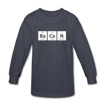 gray BaCoN Kids' Periodic Table Long Sleeve T-Shirt