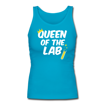"Blue ""Queen Of The Lab"" Women's Longer Length Fitted Tank"