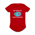 Red Be Positive Like A Proton Baby Short Sleeve One Piece
