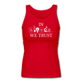 """In Science We Trust"" (white) - Women's Longer Length Fitted Tank - Tank Top - ScienceT-Shirts"