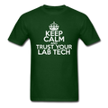 """Keep Calm and Trust Your Lab Tech"" (white) - Men's T-Shirt - T-Shirt - ScienceT-Shirts"