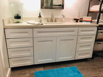 Bathroom Cabinets Are Transformed Into A New Clean & Crisp Look