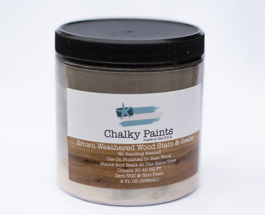 Weathered Wood Brown Stain & Sealer 8 oz. - Chalky Paints & Finishes