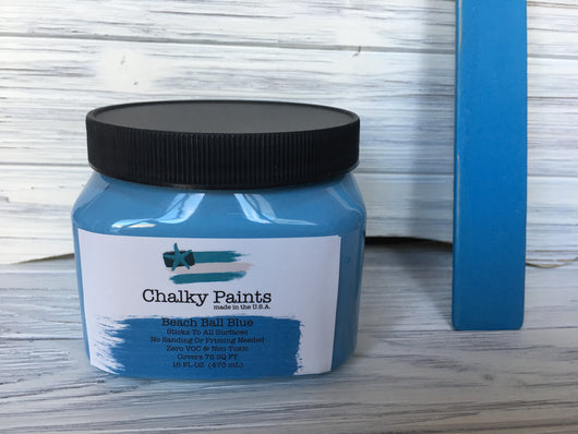 Beach Ball Blue Chalky Paint 16oz. Covers  75 sq. ft! - Chalky Paints & Finishes