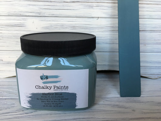 Harbor Blue Chalky Paint 16 oz. Covers 75 sq ft! - Chalky Paints & Finishes