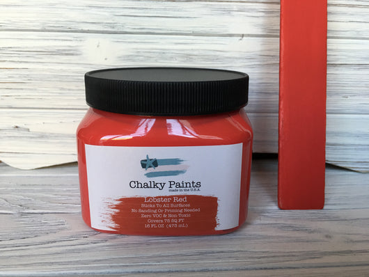 Lobster Red Chalky Paint 16 oz. Covers 75 sq ft! - Chalky Paints & Finishes