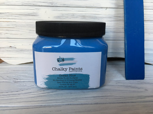 Ocean Blue Chalky Paint 16 oz. Covers 75 sq ft! - Chalky Paints & Finishes