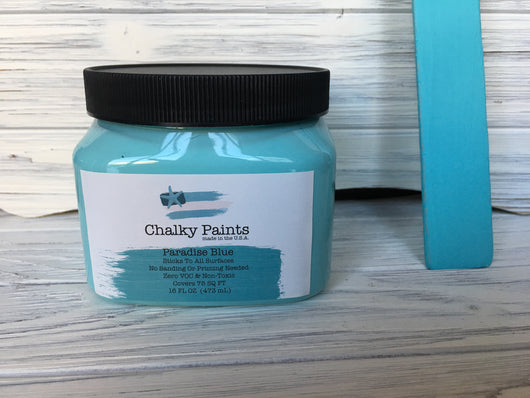 Paradise Blue Chalky Paint 16 oz. Covers 75 sq ft! - Chalky Paints & Finishes