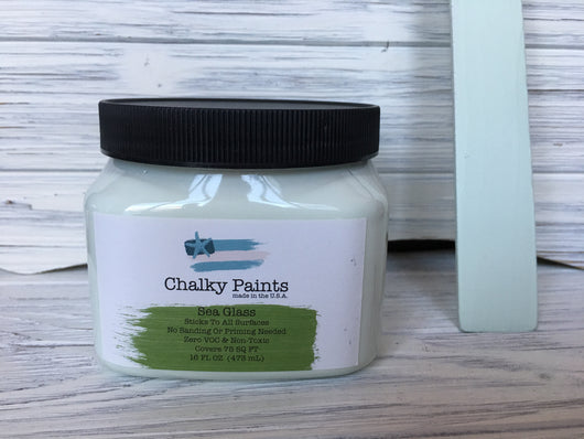 Sea Glass Chalky Paint 16 oz. Covers 75 sq ft!