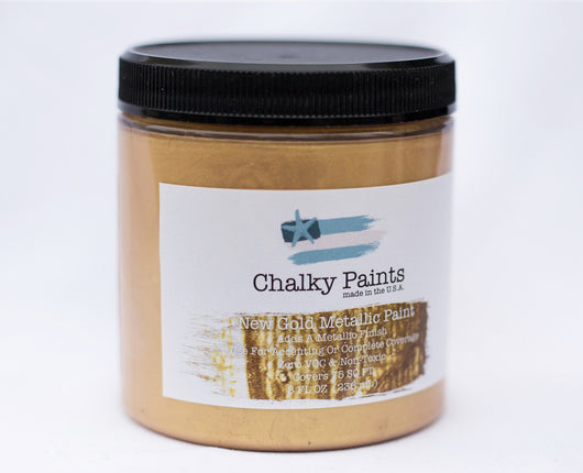 New Gold Metallic Paint 8 oz. - Chalky Paints & Finishes