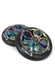delta pro scooters mach one 120mm wheels - custom spoke neo chrome