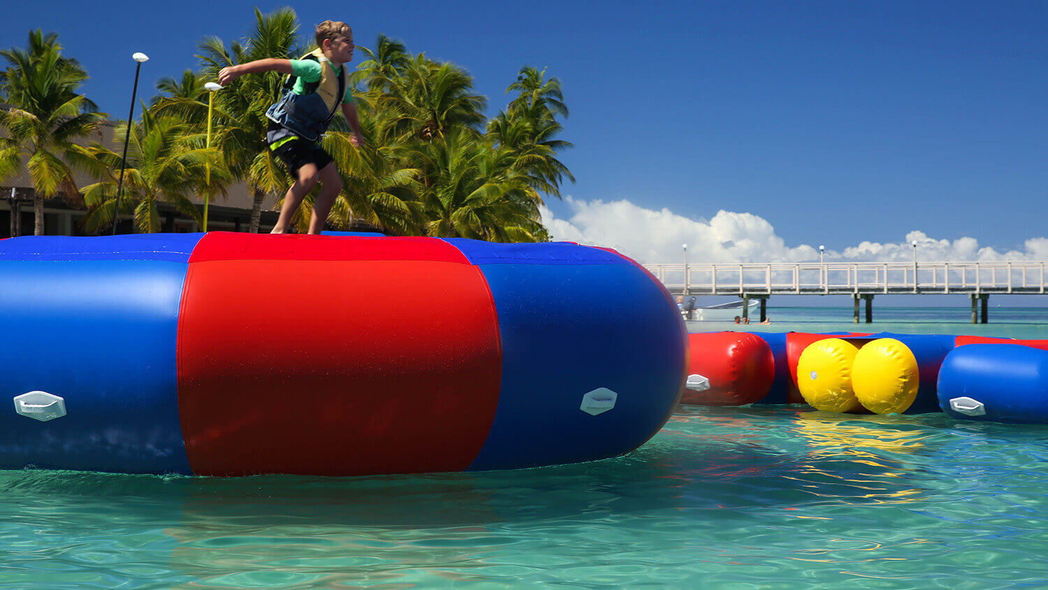 Inflatable Action Tramp Bouncer (Aqua Adventure) - Open Water Aqua Adventure Inflatable Waterpark - Aflex Technology