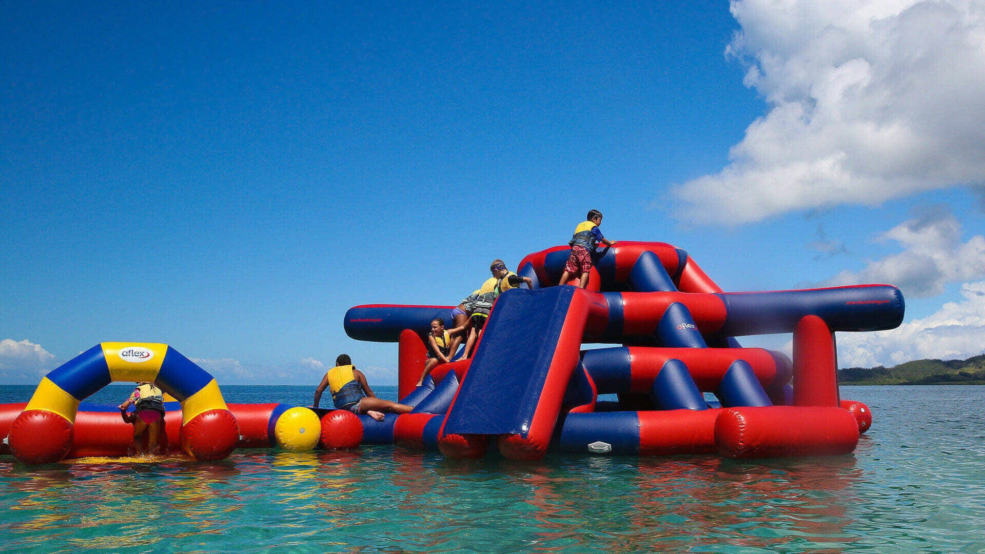 Aqua Adventure Action Zone Waterpark - Inflatable Waterpark for Open Water - Aflex Technology
