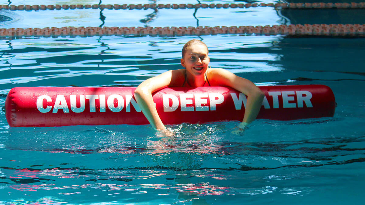 Inflatable Barrier for Commercial Pools - Caution Drop Off Barrier - Aflex Technology