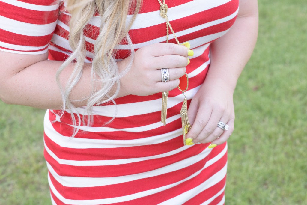 Gilded Glamour Red Stripe Dress