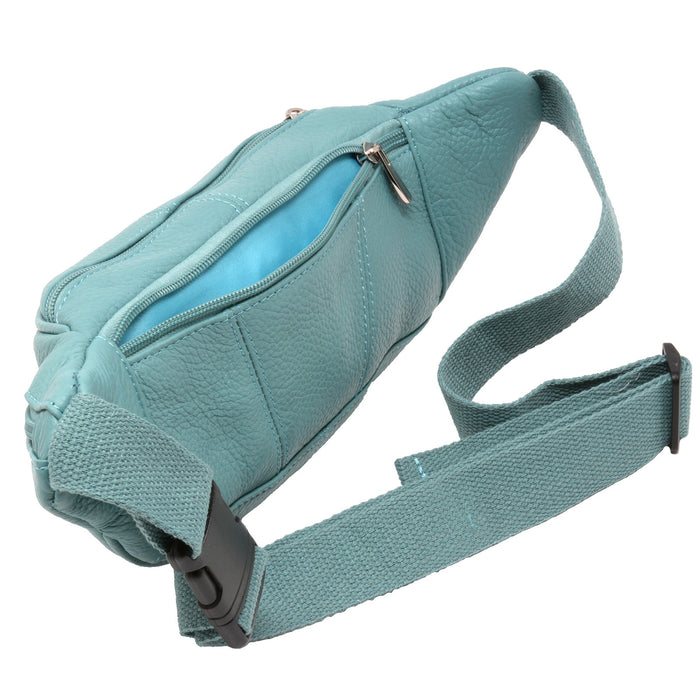 Fanny Pack, Leather, Light Blue