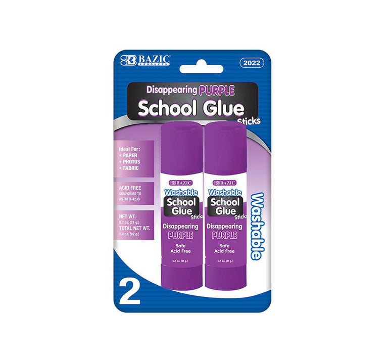 Bazic Large Washable Purple Glue Stick, Pack of 2