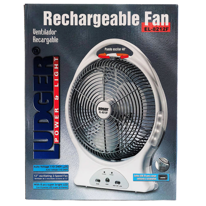 Rechargeable Fan with Flashlight and USB output to Charge Cell Phones and Accessories.