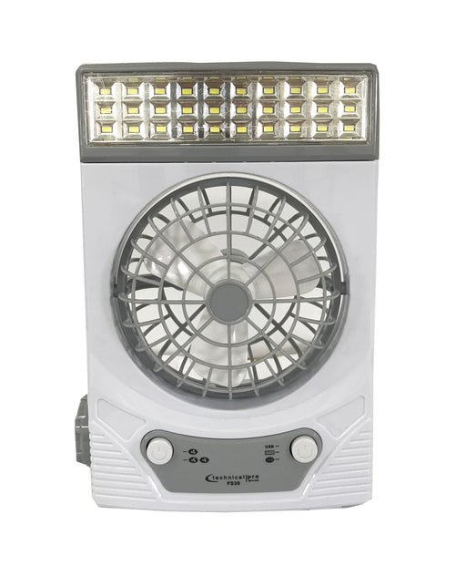 Rechargeable Camping Fan with Solar Panel & Lights