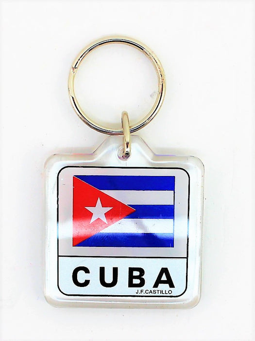 Keychain of Cuban Flag and Shield