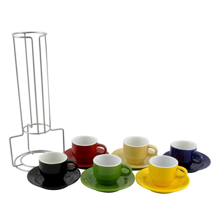 Assorted Color Ceramic Coffee Cups with Saucers (Set of 6), 2.5 oz.