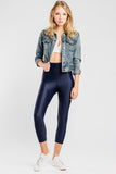 Slimming Crop Legging with CONCĒLĀRE™ Casual Wear in Blue