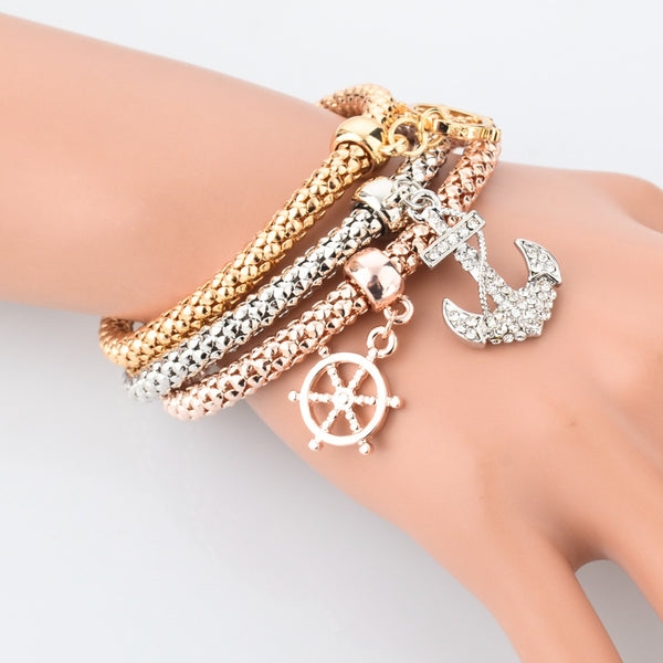 3pcs Gold - Gold rose - Silver Plated Charm Bracelets With Anchor Charms