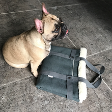 Load image into Gallery viewer, Olive green, stylish dog travel bed
