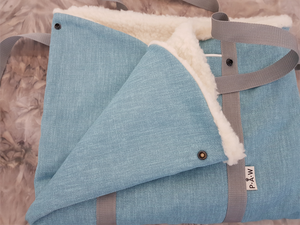 Bright blue, stylish dog travel bed