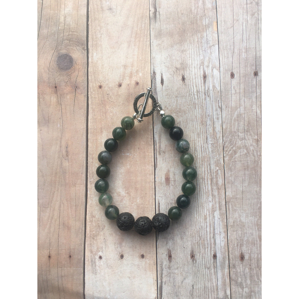 Moss Agate Essential Oil Gemstone Bracelet