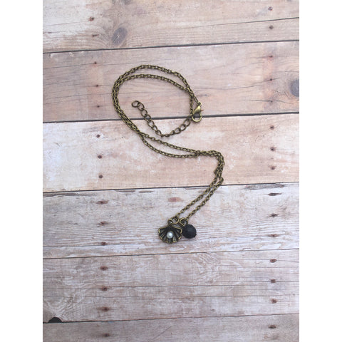 Rustic Bronze Pearl Bronze Lava Stone Necklace