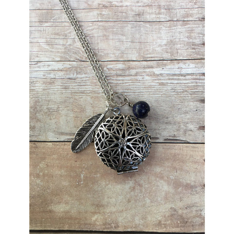 Feather and Lapis Lazuli Gemstone Essential Oil Diffuser Locket Pendant Necklace Healing long pendant necklace Essential Oil Necklace - Aromatherapy Jewelry