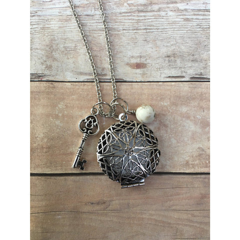 Key and Howlite Gemstone Essential Oil Diffuser Locket Pendant Necklace Healing and Power long pendant necklace Essential Oil Necklace Doter - Aromatherapy Jewelry