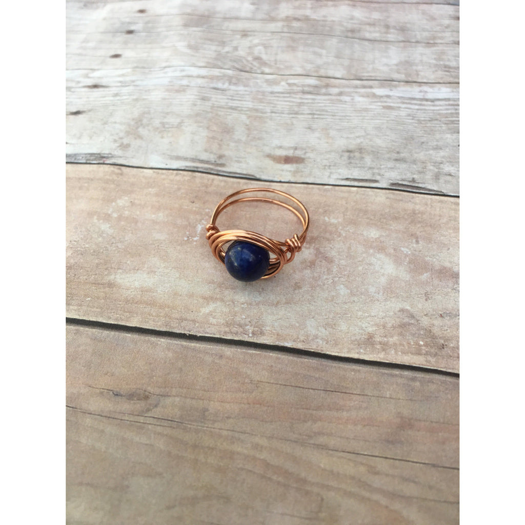 Lapis Lazuli Gemstone Copper Wire wrap Ring Custom Size Spirituality and Healing Custom Ring Size - Aromatherapy Jewelry