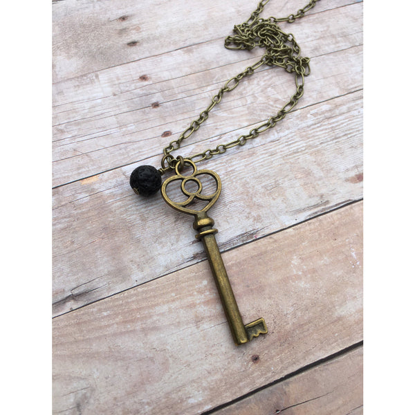 Large Key Antique Bronze Essential Oil Diffuser Pendant Necklace Healing and long necklace Essential Oil Necklace Diffuser Necklace Aromathe - Aromatherapy Jewelry