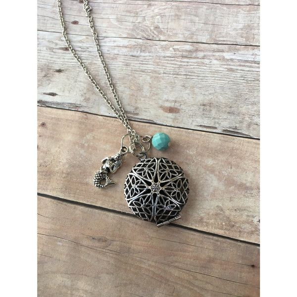 Mermaid and Turquoise Gemstone Essential Oil Diffuser Locket Pendant Necklace Healing and Power long pendant necklace Essential Oil Necklace - Aromatherapy Jewelry