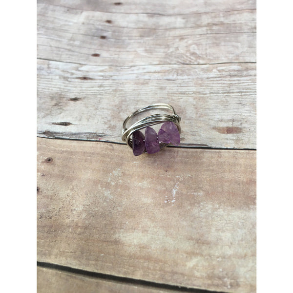 Amethyst Gemstone Chip Silver Plated Wire wrap Ring Custom Size Spirituality and Healing Feburary Birthstone